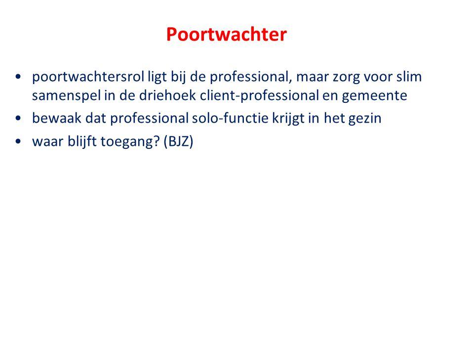 Poortwachter •poortwachtersrol ligt bij de professional, maar zorg voor slim samenspel in de driehoek client-professional en gemeente •bewaak dat prof