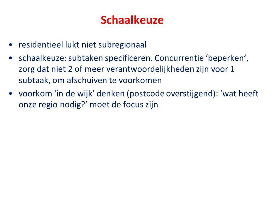 Schaalkeuze •residentieel lukt niet subregionaal •schaalkeuze: subtaken specificeren. Concurrentie 'beperken', zorg dat niet 2 of meer verantwoordelij