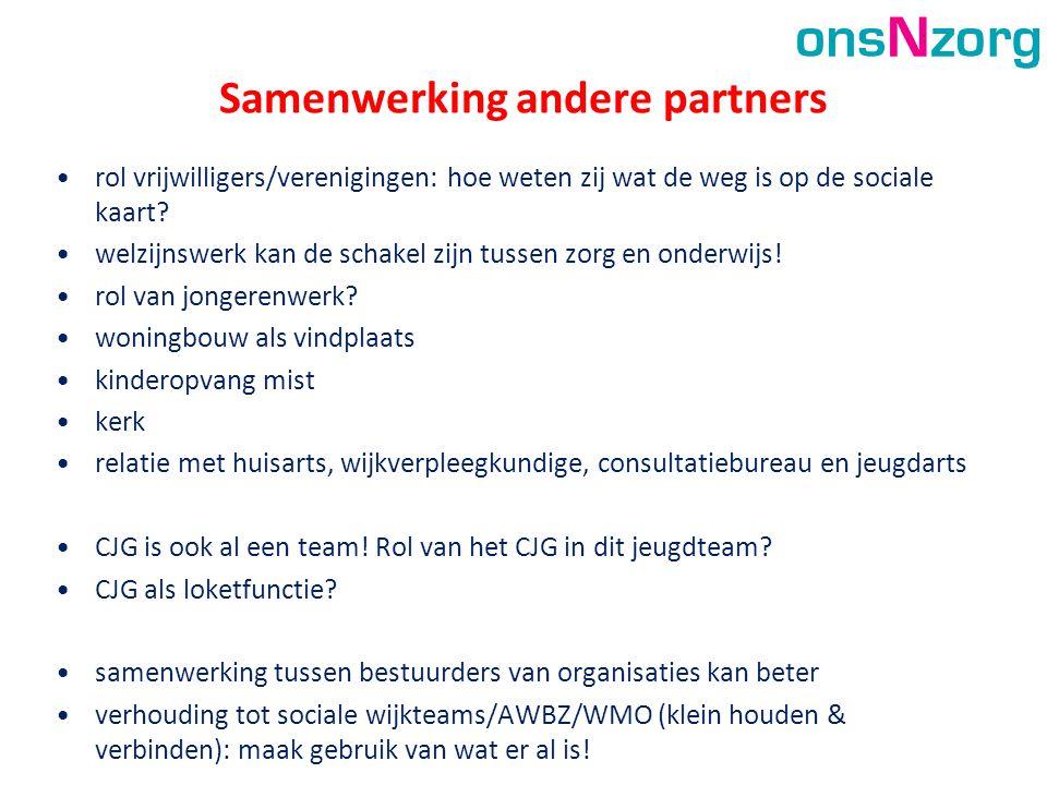 Samenwerking andere partners •rol vrijwilligers/verenigingen: hoe weten zij wat de weg is op de sociale kaart? •welzijnswerk kan de schakel zijn tusse