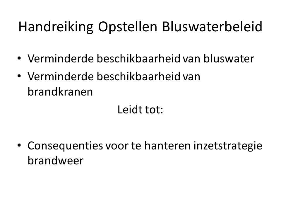 Handreiking Opstellen Bluswaterbeleid • Verminderde beschikbaarheid van bluswater • Verminderde beschikbaarheid van brandkranen Leidt tot: • Consequen