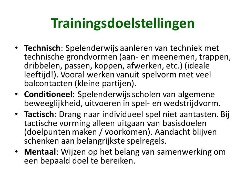 Trainingsdoelstellingen • Technisch: Spelenderwijs aanleren van techniek met technische grondvormen (aan- en meenemen, trappen, dribbelen, passen, kop