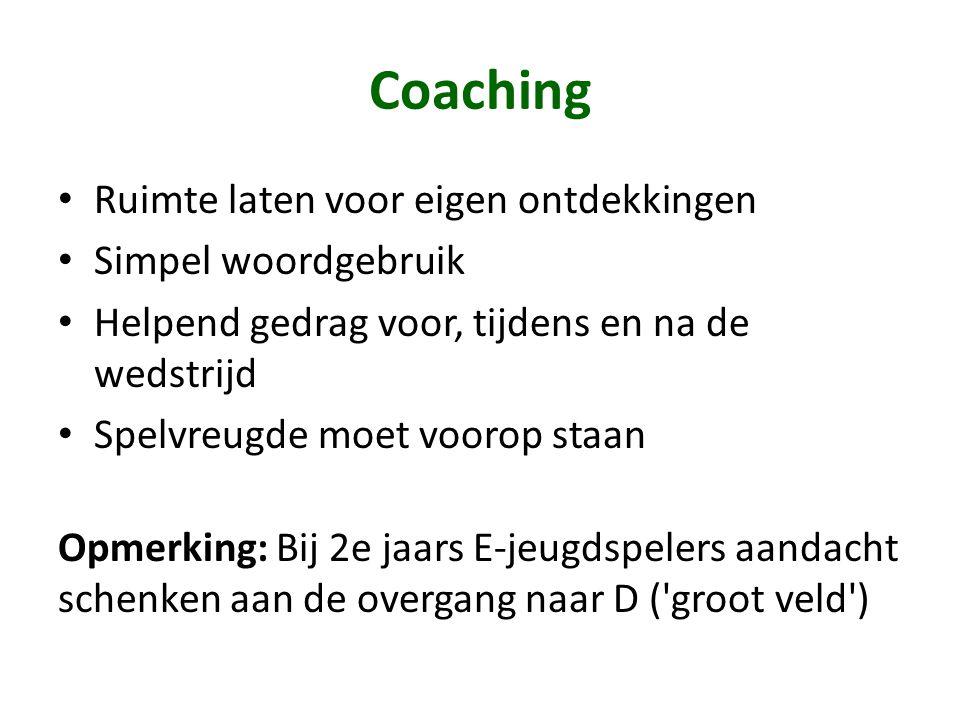 Coaching • Ruimte laten voor eigen ontdekkingen • Simpel woordgebruik • Helpend gedrag voor, tijdens en na de wedstrijd • Spelvreugde moet voorop staa