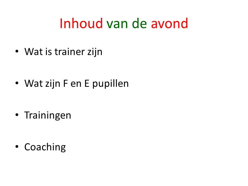 Inhoud van de avond • Wat is trainer zijn • Wat zijn F en E pupillen • Trainingen • Coaching