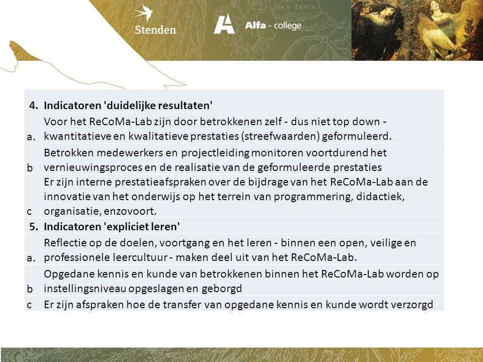4.Indicatoren 'duidelijke resultaten' a. Voor het ReCoMa-Lab zijn door betrokkenen zelf - dus niet top down - kwantitatieve en kwalitatieve prestaties