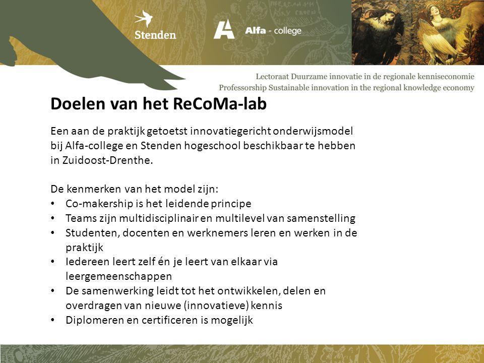 Een aan de praktijk getoetst innovatiegericht onderwijsmodel bij Alfa-college en Stenden hogeschool beschikbaar te hebben in Zuidoost-Drenthe. De kenm