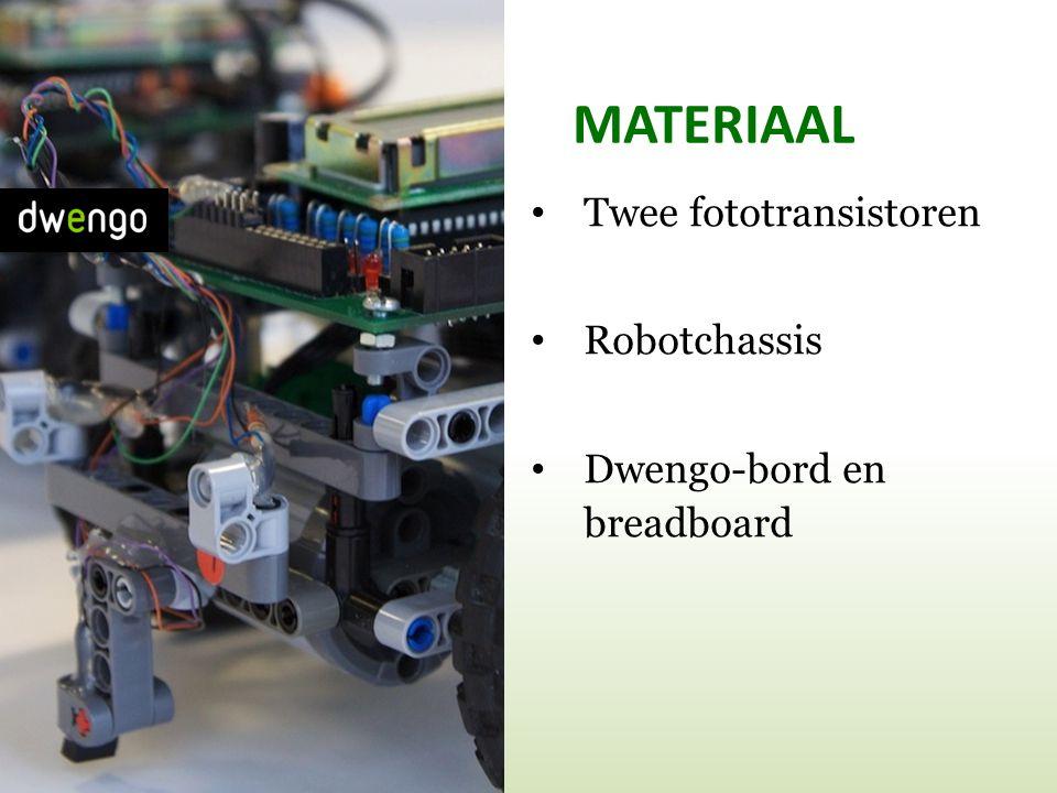 MATERIAAL • Twee fototransistoren • Robotchassis • Dwengo-bord en breadboard