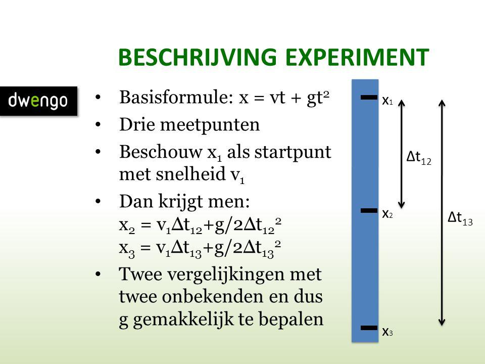 BESCHRIJVING EXPERIMENT • Basisformule: x = vt + gt 2 • Drie meetpunten • Beschouw x 1 als startpunt met snelheid v 1 • Dan krijgt men: x 2 = v 1 Δt 1