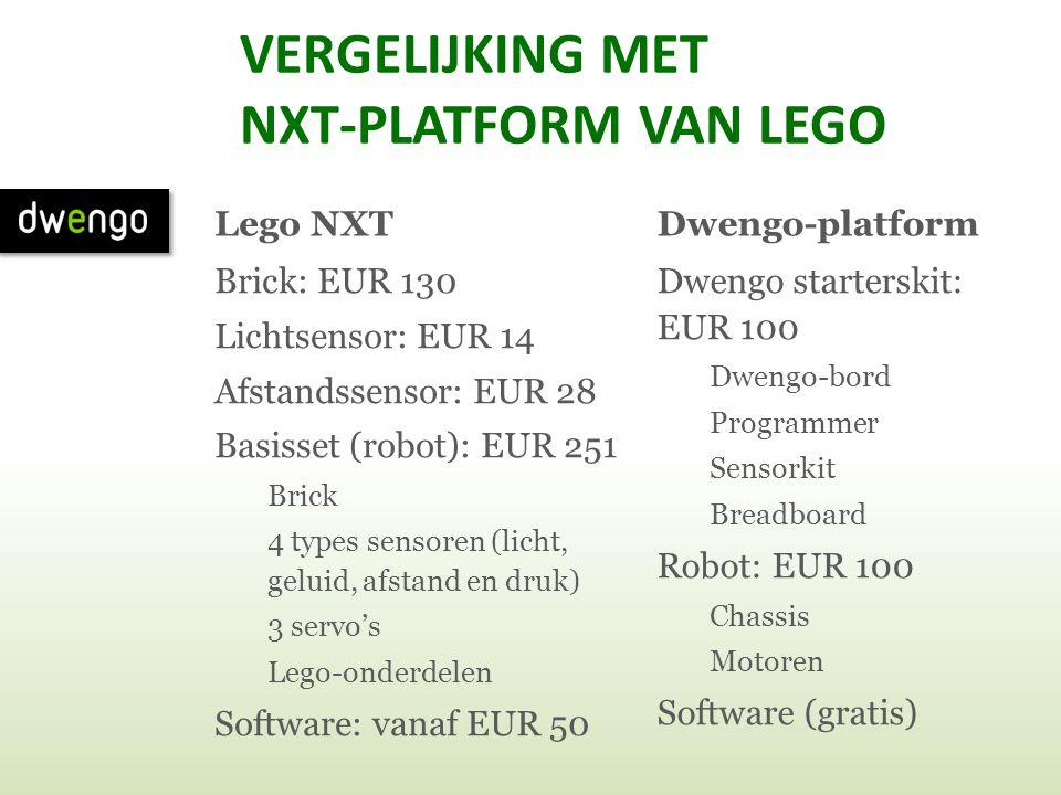 VERGELIJKING MET NXT-PLATFORM VAN LEGO Lego NXT Brick: EUR 130 Lichtsensor: EUR 14 Afstandssensor: EUR 28 Basisset (robot): EUR 251 Brick 4 types sens