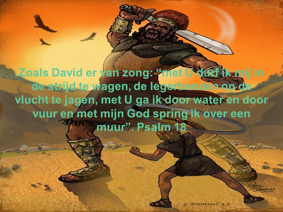 Zoals David er van zong: met U durf ik mij in de strijd te wagen, de legerbenden op de vlucht te jagen, met U ga ik door water en door vuur en met mijn God spring ik over een muur .