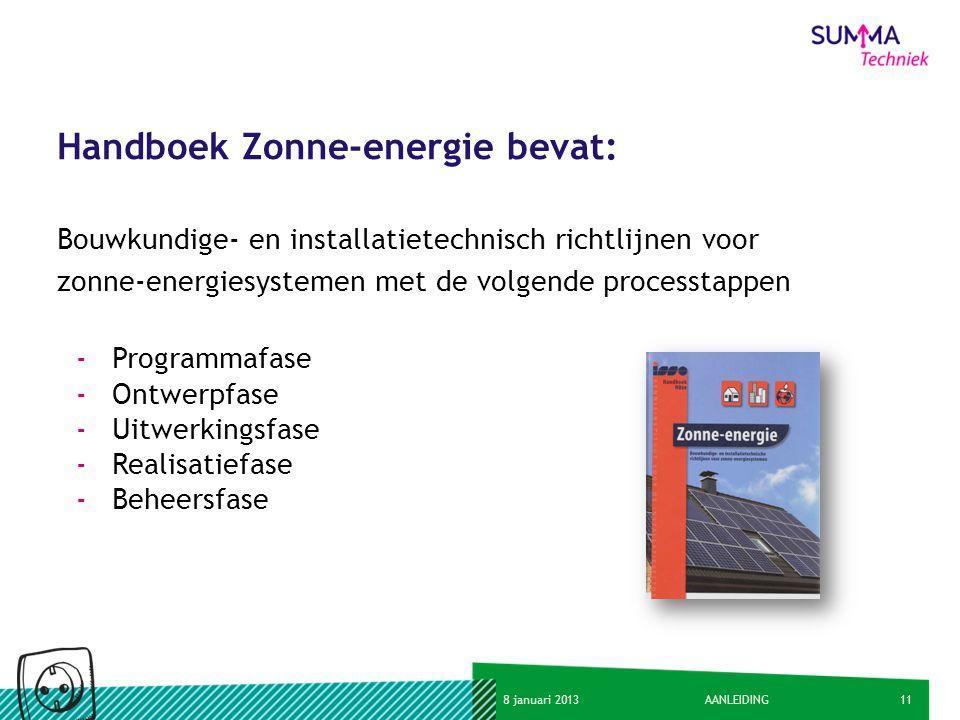 118 januari 2013AANLEIDING Handboek Zonne-energie bevat: Bouwkundige- en installatietechnisch richtlijnen voor zonne-energiesystemen met de volgende p