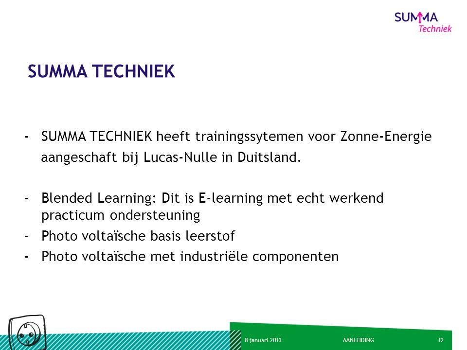 128 januari 2013AANLEIDING SUMMA TECHNIEK -SUMMA TECHNIEK heeft trainingssytemen voor Zonne-Energie aangeschaft bij Lucas-Nulle in Duitsland. -Blended