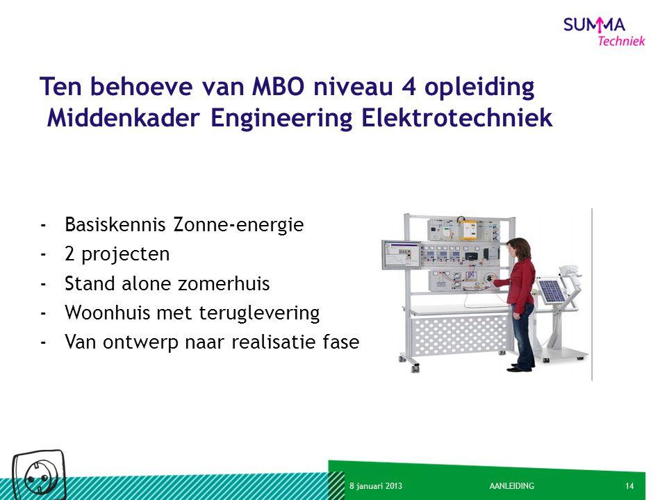 148 januari 2013AANLEIDING Ten behoeve van MBO niveau 4 opleiding Middenkader Engineering Elektrotechniek -Basiskennis Zonne-energie -2 projecten -Sta