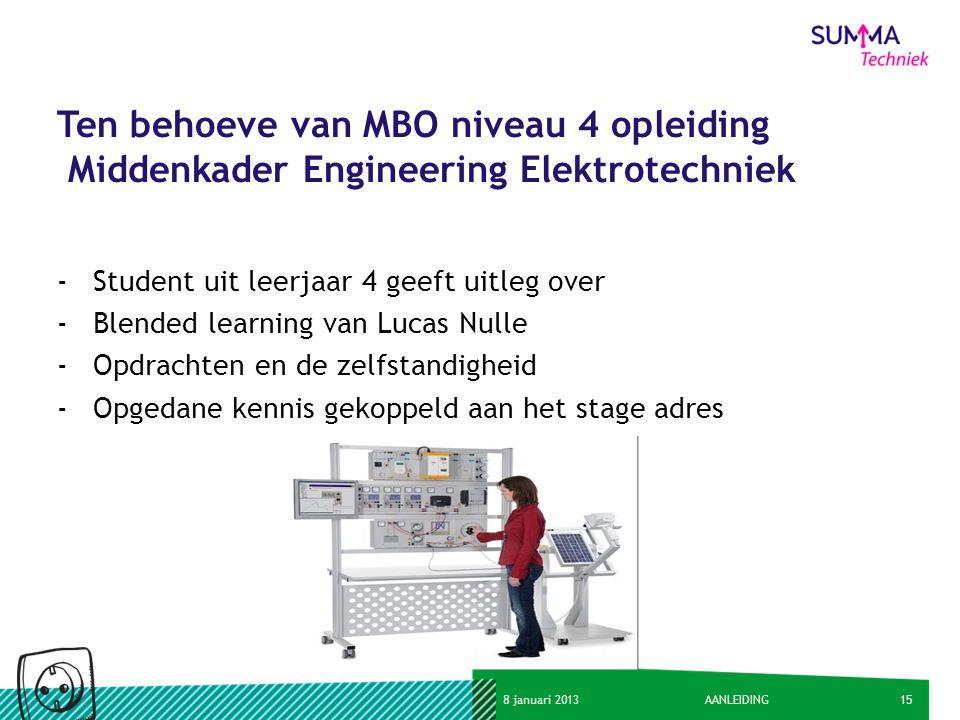 158 januari 2013AANLEIDING Ten behoeve van MBO niveau 4 opleiding Middenkader Engineering Elektrotechniek -Student uit leerjaar 4 geeft uitleg over -B