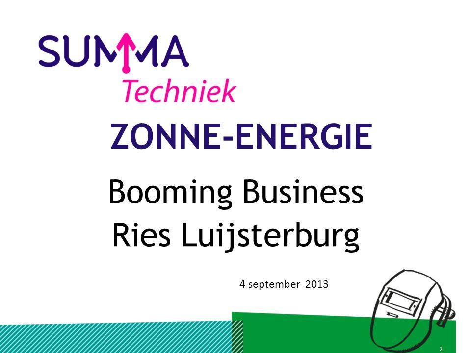 38 januari 2013AANLEIDING Nederlandse en Europese beleid voornemens om meer te investeren in Zonne-Energie.