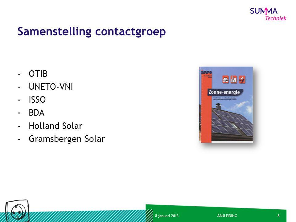 88 januari 2013AANLEIDING Samenstelling contactgroep -OTIB -UNETO-VNI -ISSO -BDA -Holland Solar -Gramsbergen Solar