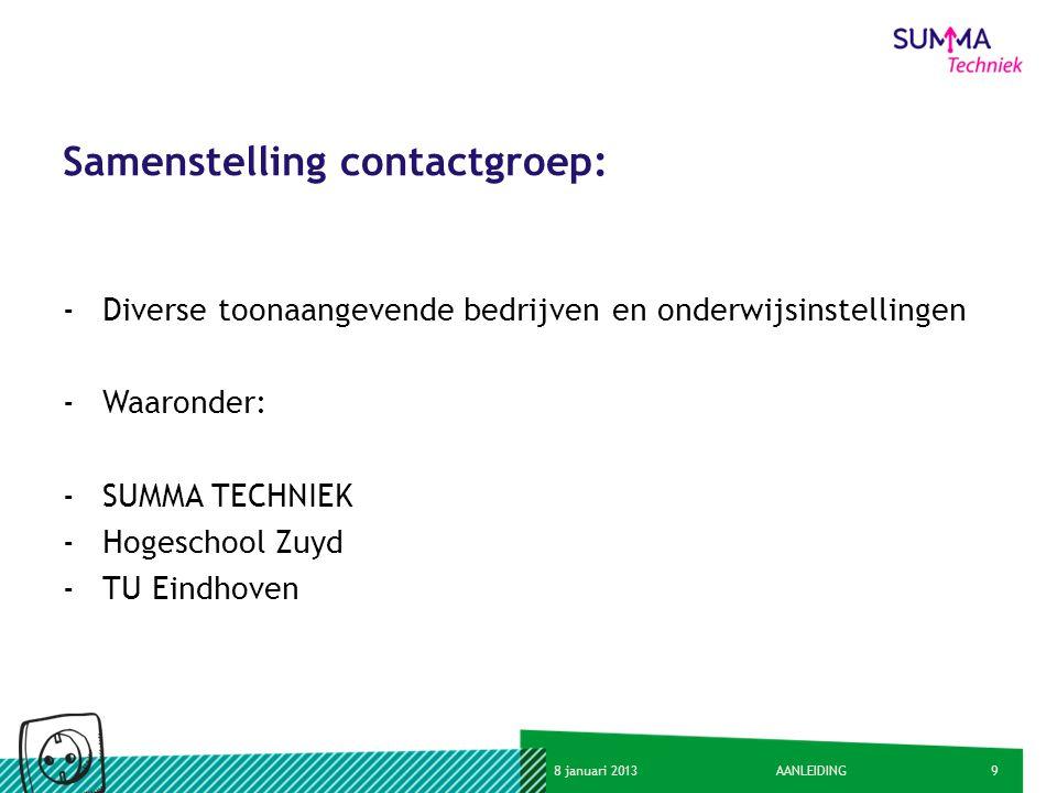 98 januari 2013AANLEIDING Samenstelling contactgroep: -Diverse toonaangevende bedrijven en onderwijsinstellingen -Waaronder: -SUMMA TECHNIEK -Hogescho