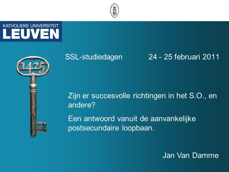 SSL-studiedagen 24 - 25 februari 2011 Zijn er succesvolle richtingen in het S.O., en andere.