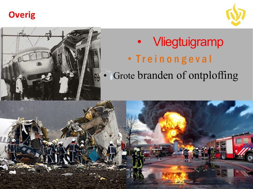 •Vliegtuigramp • Treinongeval • Grote branden of ontploffing Overig