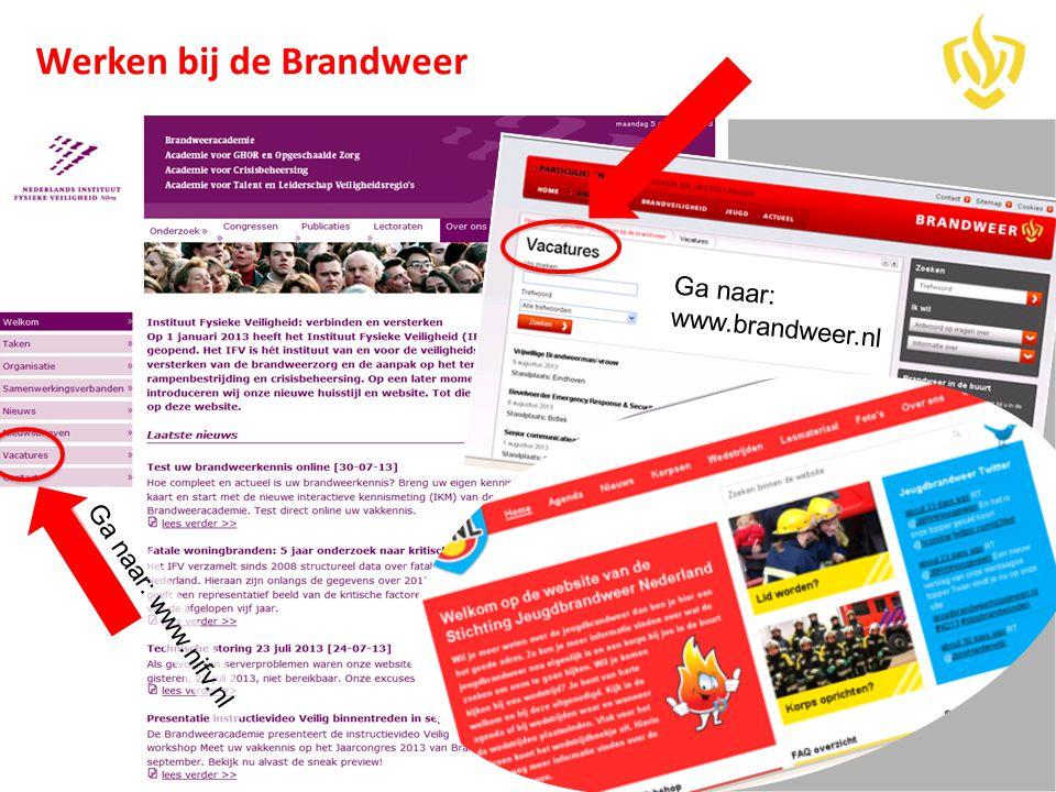 Ga naar: www.nifv.nl Ga naar: www.brandweer.nl Werken bij de Brandweer