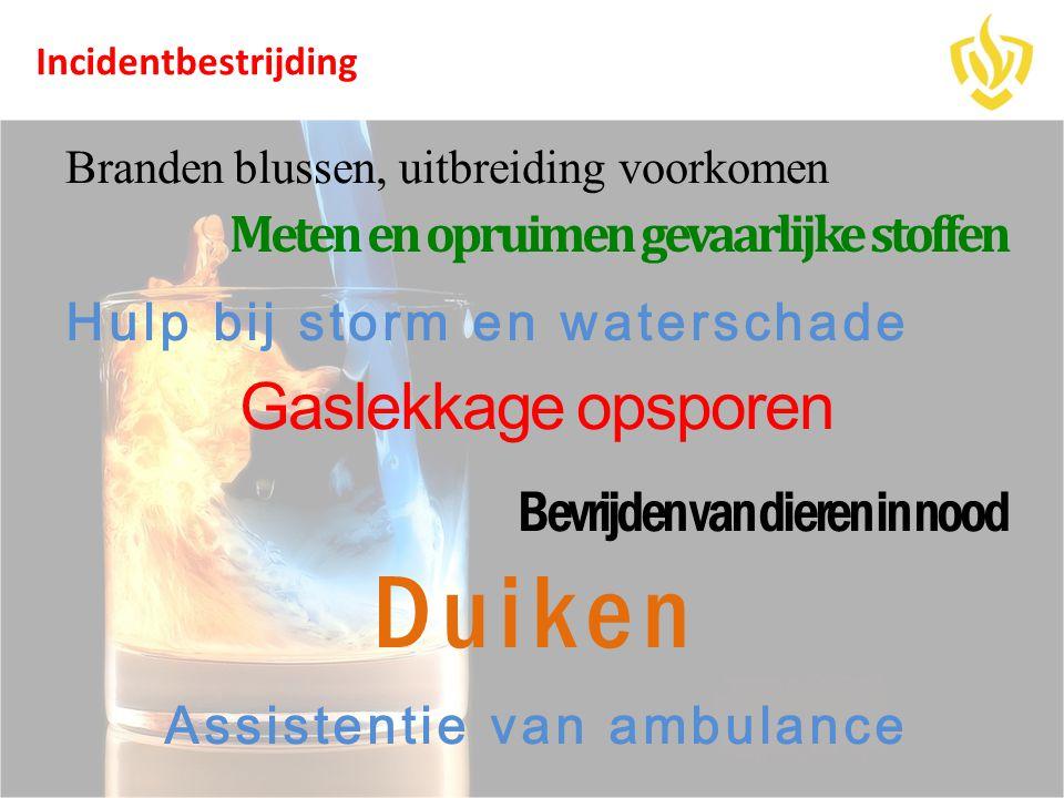 Branden blussen, uitbreiding voorkomen Meten en opruimen gevaarlijke stoffen Hulp bij storm en waterschade Gaslekkage opsporen Bevrijden van dieren in
