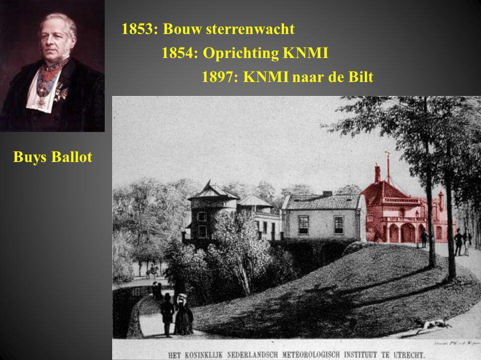 1854: Oprichting KNMI Buys Ballot 1853: Bouw sterrenwacht 1897: KNMI naar de Bilt