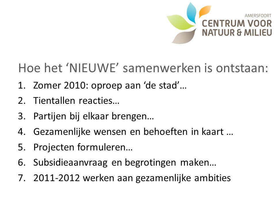 Hoe het 'NIEUWE' samenwerken is ontstaan: 1.Zomer 2010: oproep aan 'de stad'… 2.Tientallen reacties… 3.Partijen bij elkaar brengen… 4.Gezamenlijke wensen en behoeften in kaart … 5.Projecten formuleren… 6.Subsidieaanvraag en begrotingen maken… 7.2011-2012 werken aan gezamenlijke ambities