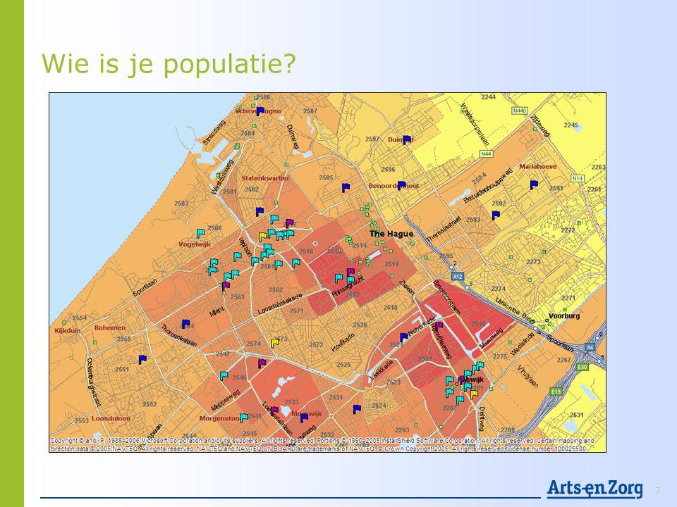 Wijkgericht = Populatiegericht • Keuze maken voor regio of wijk: afbakenen van je populatie • Samenwerken of gescheiden verantwoordelijkheid.