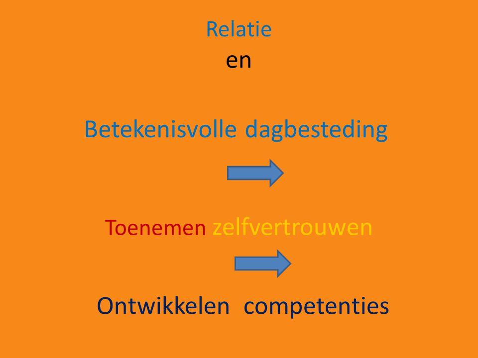 Betekenisvolle dagbesteding Toenemen zelfvertrouwen Relatie en Ontwikkelen competenties