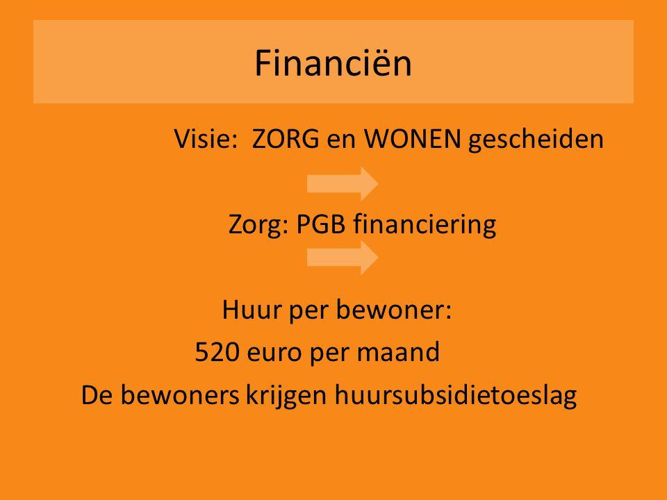 Financiën Visie: ZORG en WONEN gescheiden Zorg: PGB financiering Huur per bewoner: 520 euro per maand De bewoners krijgen huursubsidietoeslag