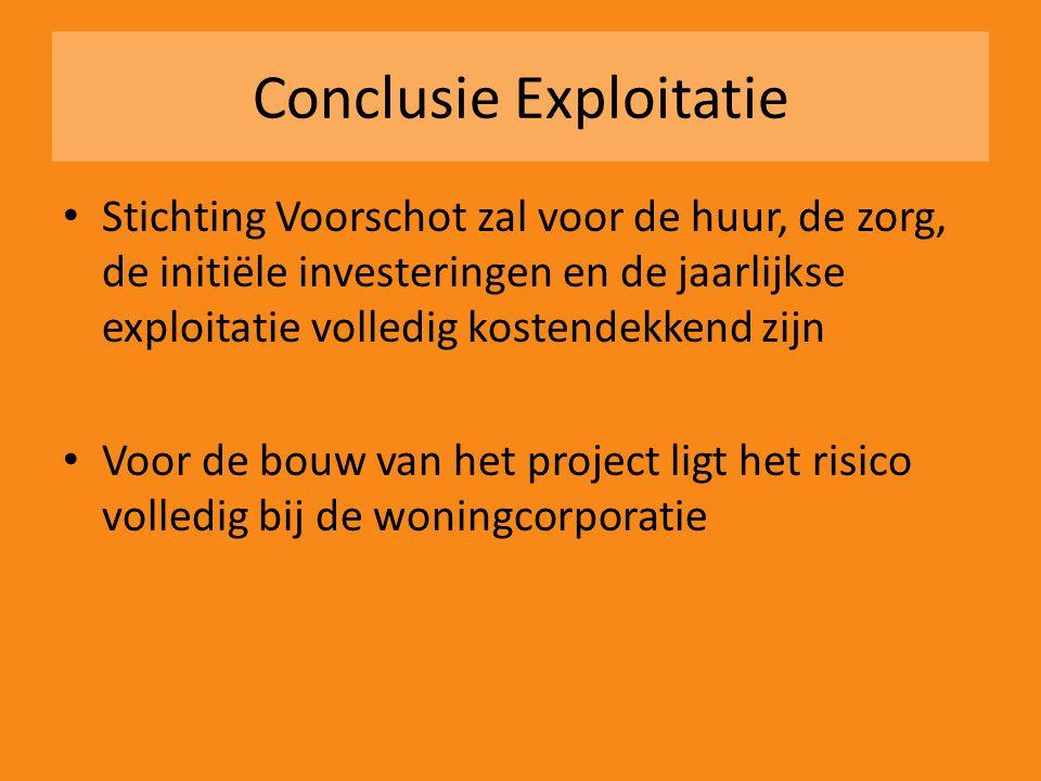 Conclusie Exploitatie • Stichting Voorschot zal voor de huur, de zorg, de initiële investeringen en de jaarlijkse exploitatie volledig kostendekkend z