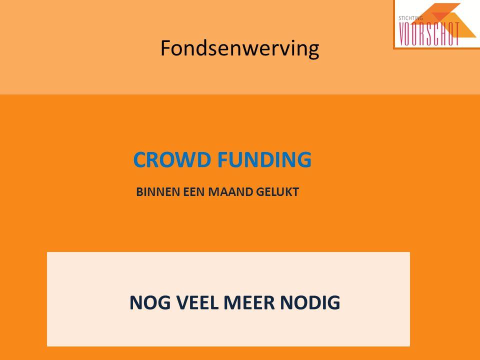 Fondsenwerving NOG VEEL MEER NODIG CROWD FUNDING BINNEN EEN MAAND GELUKT