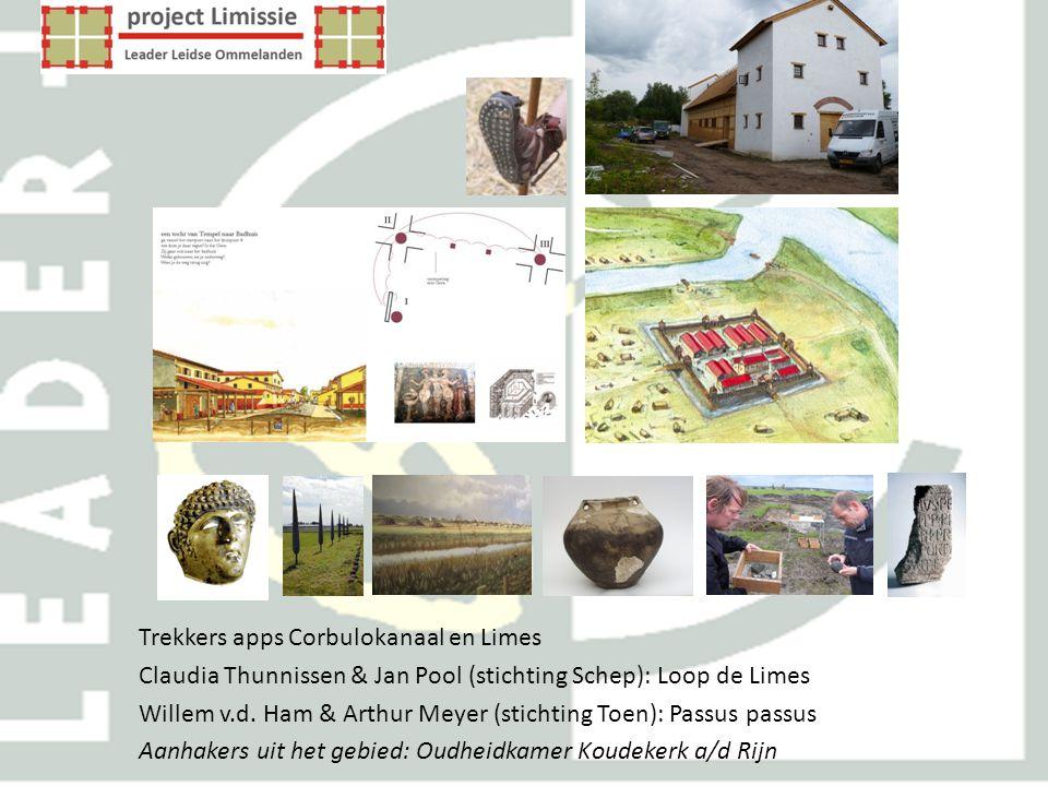 Trekkers apps Corbulokanaal en Limes Claudia Thunnissen & Jan Pool (stichting Schep): Loop de Limes Willem v.d. Ham & Arthur Meyer (stichting Toen): P