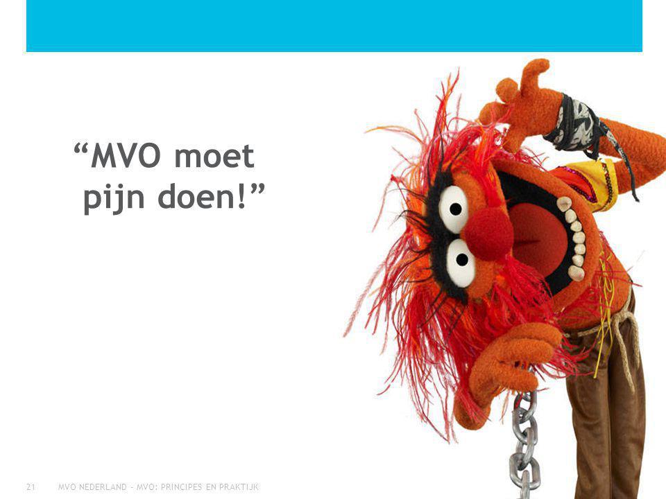 MVO NEDERLAND - MVO: PRINCIPES EN PRAKTIJK21 MVO moet pijn doen!