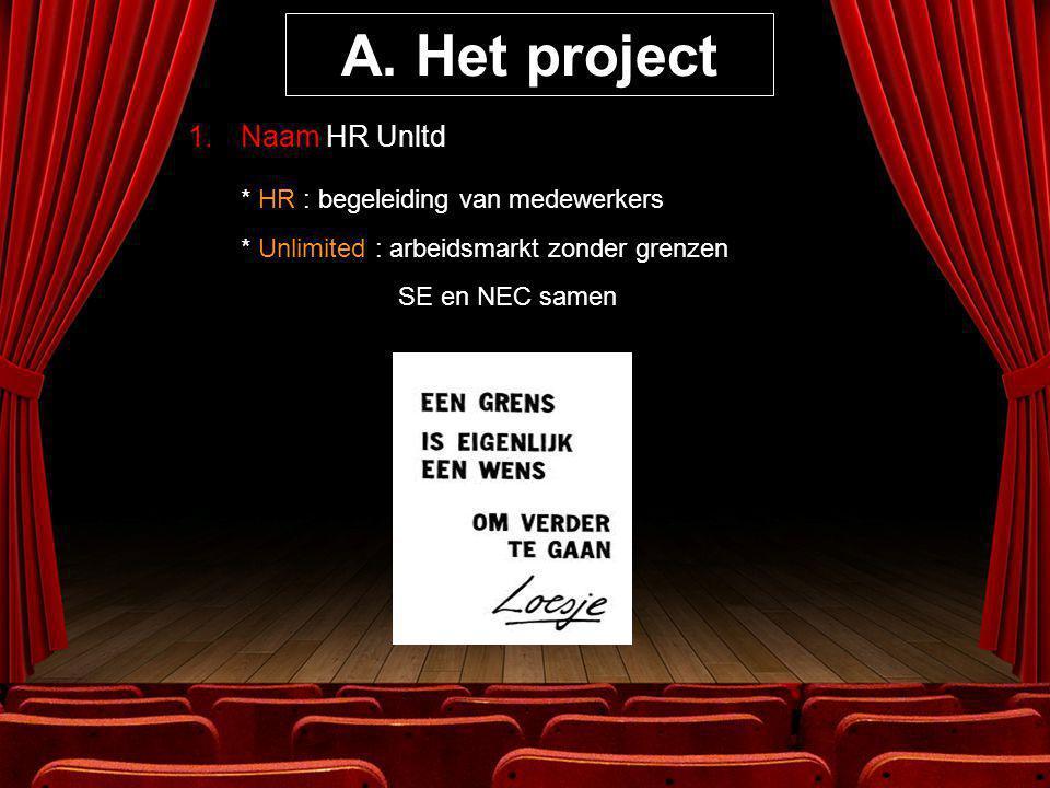 A. Het project 1.Naam HR Unltd * HR : begeleiding van medewerkers * Unlimited : arbeidsmarkt zonder grenzen SE en NEC samen
