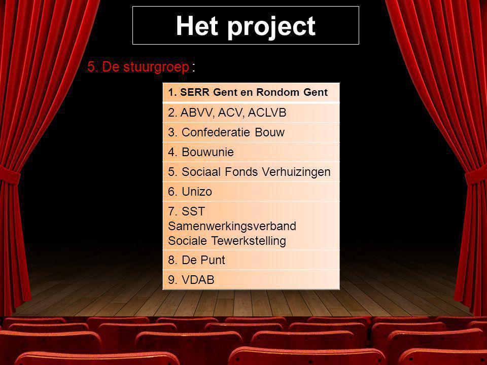 Het project 5. De stuurgroep : 1. SERR Gent en Rondom Gent 2.