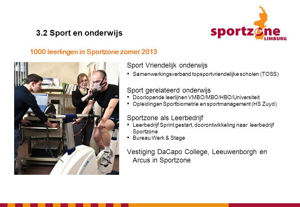 3.2 Sport en onderwijs Sport Vriendelijk onderwijs • Samenwerkingsverband topsportvriendelijke scholen (TOSS) Sport gerelateerd onderwijs • Doorlopend