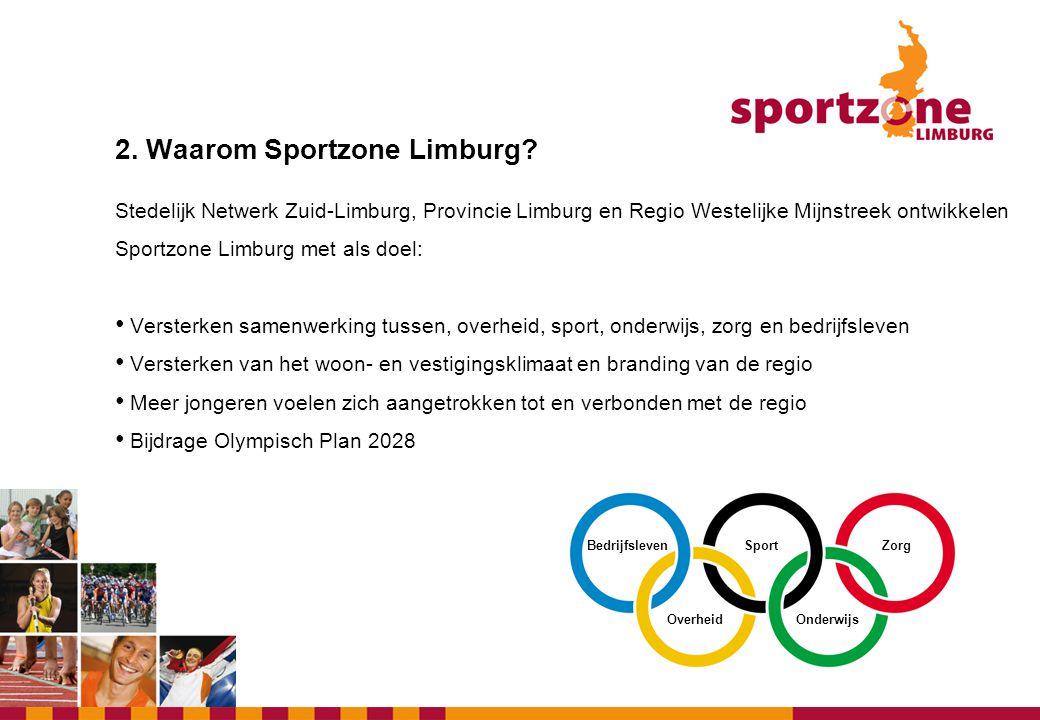 2. Waarom Sportzone Limburg? Stedelijk Netwerk Zuid-Limburg, Provincie Limburg en Regio Westelijke Mijnstreek ontwikkelen Sportzone Limburg met als do