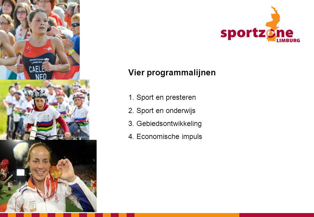 Vier programmalijnen 1. Sport en presteren 2. Sport en onderwijs 3. Gebiedsontwikkeling 4. Economische impuls