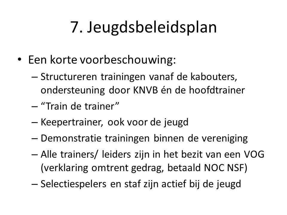 """7. Jeugdsbeleidsplan • Een korte voorbeschouwing: – Structureren trainingen vanaf de kabouters, ondersteuning door KNVB én de hoofdtrainer – """"Train de"""