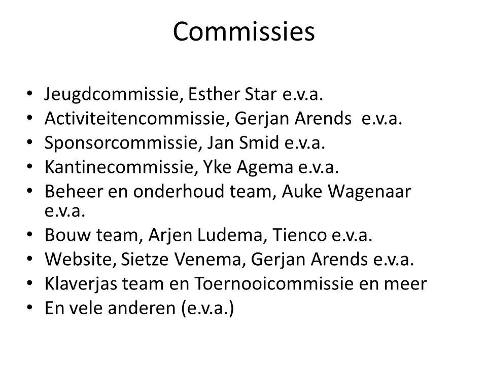 Commissies • Jeugdcommissie, Esther Star e.v.a.• Activiteitencommissie, Gerjan Arends e.v.a.