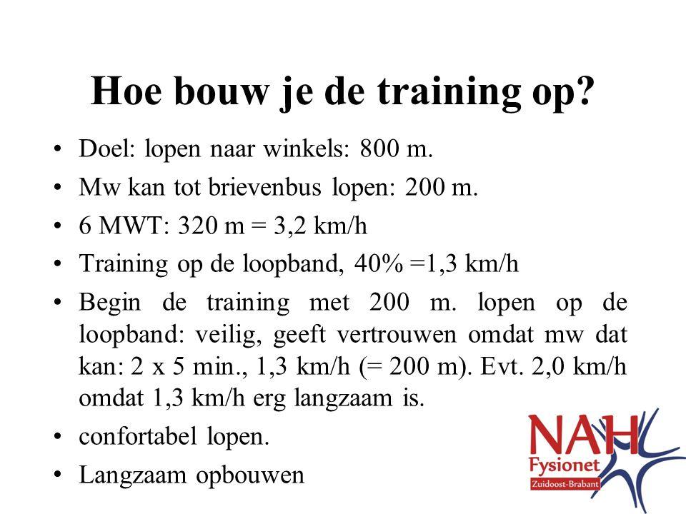 Hoe bouw je de training op.•Doel: lopen naar winkels: 800 m.