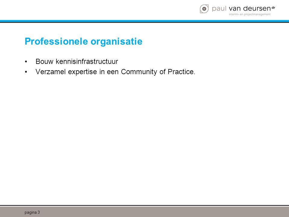 Professionele organisatie •Bouw kennisinfrastructuur •Verzamel expertise in een Community of Practice.