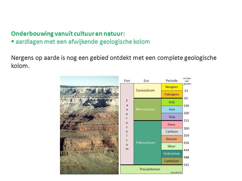 Onderbouwing vanuit cultuur en natuur:  aardlagen met een afwijkende geologische kolom Nergens op aarde is nog een gebied ontdekt met een complete geologische kolom.