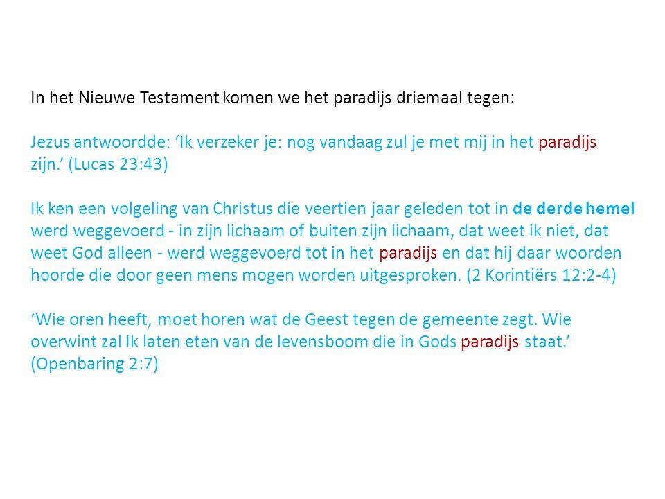 In het Nieuwe Testament komen we het paradijs driemaal tegen: Jezus antwoordde: 'Ik verzeker je: nog vandaag zul je met mij in het paradijs zijn.' (Lucas 23:43) Ik ken een volgeling van Christus die veertien jaar geleden tot in de derde hemel werd weggevoerd - in zijn lichaam of buiten zijn lichaam, dat weet ik niet, dat weet God alleen - werd weggevoerd tot in het paradijs en dat hij daar woorden hoorde die door geen mens mogen worden uitgesproken.