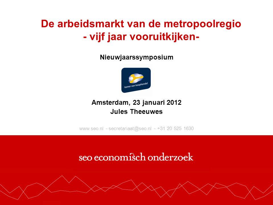 www.seo.nl - secretariaat@seo.nl - +31 20 525 1630 De arbeidsmarkt van de metropoolregio - vijf jaar vooruitkijken- Nieuwjaarssymposium Amsterdam, 23 januari 2012 Jules Theeuwes