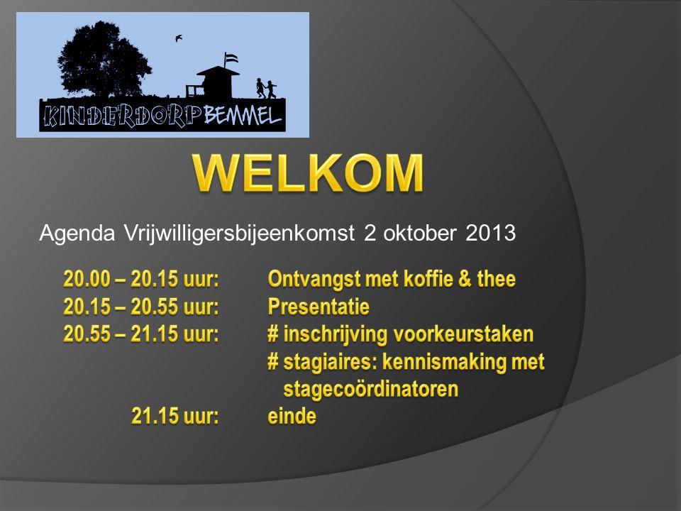 Agenda Vrijwilligersbijeenkomst 2 oktober 2013
