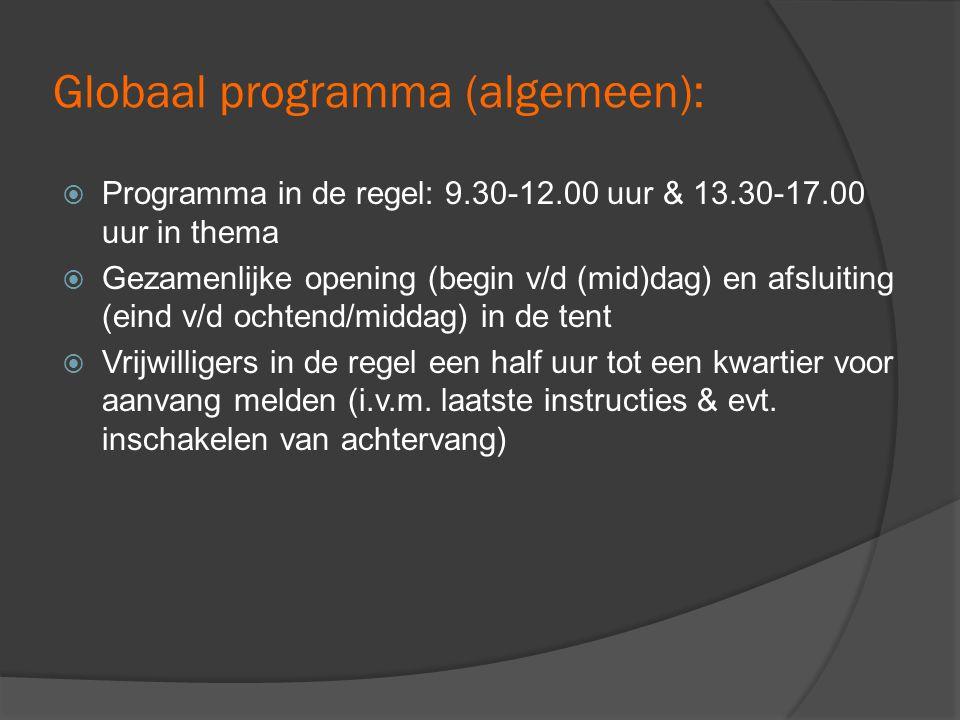 Globaal programma (algemeen):  Programma in de regel: 9.30-12.00 uur & 13.30-17.00 uur in thema  Gezamenlijke opening (begin v/d (mid)dag) en afsluiting (eind v/d ochtend/middag) in de tent  Vrijwilligers in de regel een half uur tot een kwartier voor aanvang melden (i.v.m.