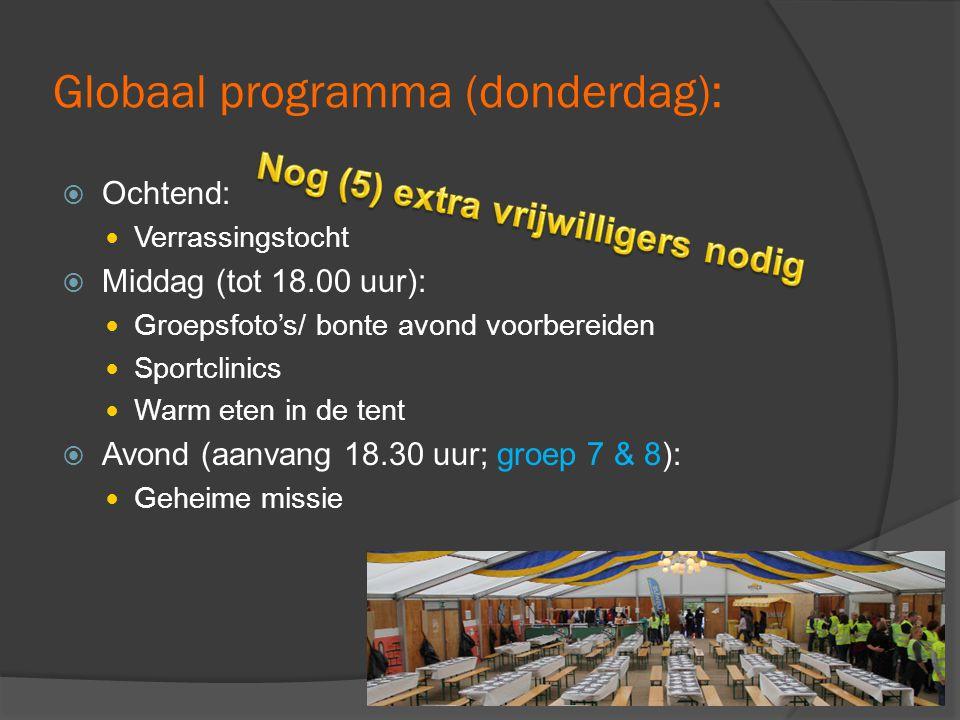 Globaal programma (donderdag):  Ochtend:  Verrassingstocht  Middag (tot 18.00 uur):  Groepsfoto's/ bonte avond voorbereiden  Sportclinics  Warm eten in de tent  Avond (aanvang 18.30 uur; groep 7 & 8):  Geheime missie