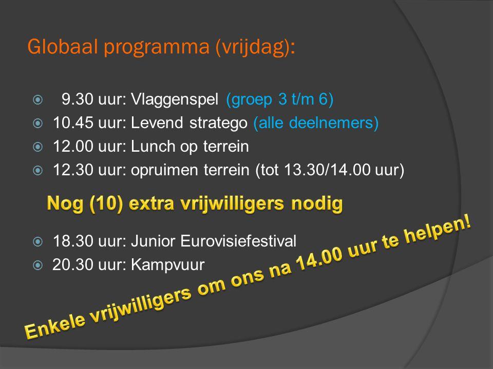 Globaal programma (vrijdag):  9.30 uur: Vlaggenspel (groep 3 t/m 6)  10.45 uur: Levend stratego (alle deelnemers)  12.00 uur: Lunch op terrein  12.30 uur: opruimen terrein (tot 13.30/14.00 uur)  18.30 uur: Junior Eurovisiefestival  20.30 uur: Kampvuur