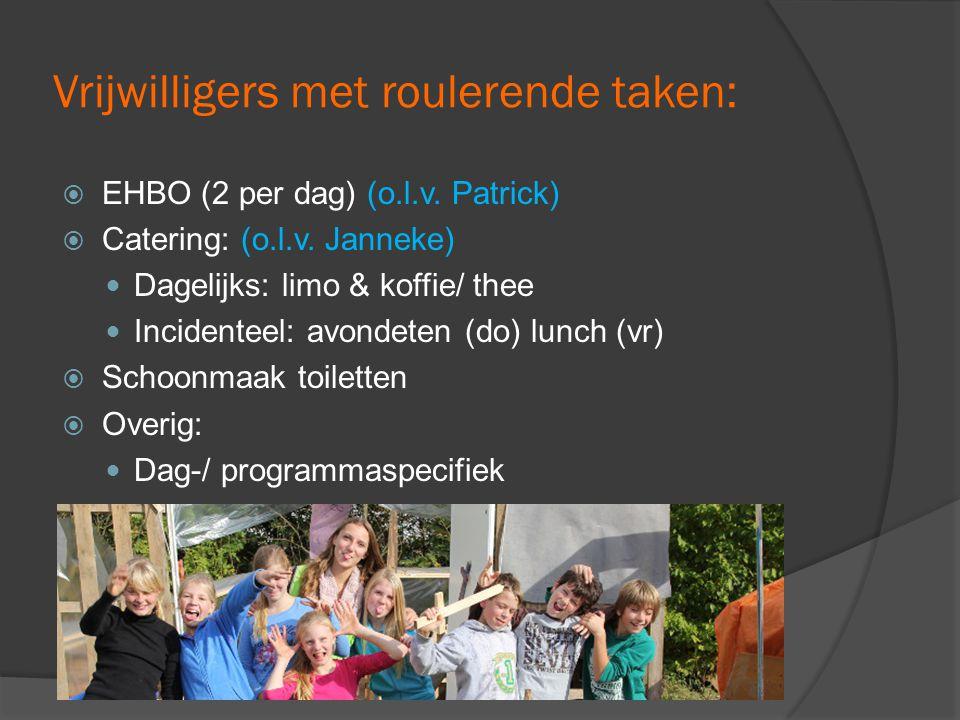 Vrijwilligers met roulerende taken:  EHBO (2 per dag) (o.l.v.